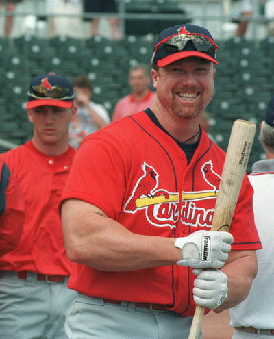 McGwire pictures during Spring Training and Practices